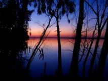 De zonsondergang van Nice aan de rivierkant Stock Afbeelding