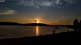 De zonsondergang van Nice in Lipno Stock Afbeelding
