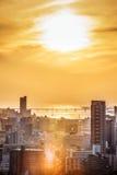 De zonsondergang van Osaka royalty-vrije stock afbeelding