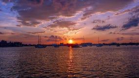 De Zonsondergang van Palm Beach Stock Afbeelding