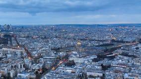 De zonsondergang van Parijs timelapse stock video