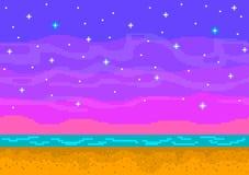 De zonsondergang van de pixelkunst op het strand Stock Foto
