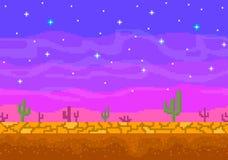 De zonsondergang van de pixelkunst in de woestijn vector illustratie