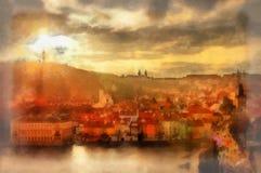 De zonsondergang van Praag Stock Foto