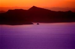 De Zonsondergang van Puno over Meer Titicaca 3 stock foto's