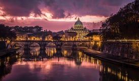 De zonsondergang van Rome Royalty-vrije Stock Foto's