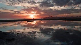 De Zonsondergang van Santa Cruz Ca Coast @ Royalty-vrije Stock Afbeelding