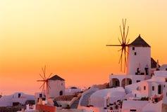 De zonsondergang van Santorini Stock Foto