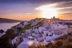 De zonsondergang van Santorini Royalty-vrije Stock Fotografie