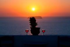 De zonsondergang van Santorini Royalty-vrije Stock Afbeeldingen