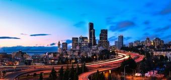 De Zonsondergang van Seattle Stock Afbeelding