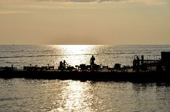 De zonsondergang van Slovenië Piran op het overzees Royalty-vrije Stock Foto