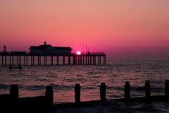 De zonsondergang van Southwold Stock Afbeeldingen