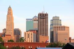 De Zonsondergang van de Stad van Kansas stock foto's