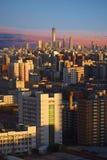 De zonsondergang van de de stadshorizon van Peking, China royalty-vrije stock fotografie