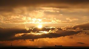 De Zonsondergang van Steveston stock afbeeldingen
