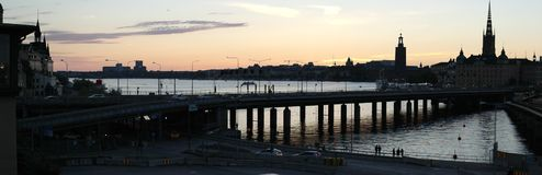 De zonsondergang van Stockholm September stock afbeeldingen