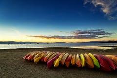 De Zonsondergang van Tahoe van het zuidenmeer stock foto
