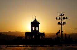 De zonsondergang van Tbilisi Royalty-vrije Stock Afbeelding