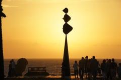 De zonsondergang van Tenerife Playa Las Amerika Stock Afbeeldingen