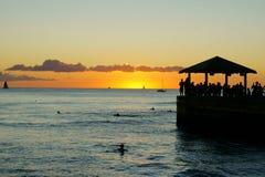 De zonsondergang van Waikiki Stock Afbeeldingen