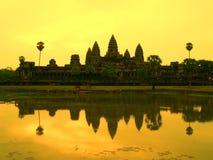 De Zonsondergang van Wat van Angkor Stock Afbeeldingen