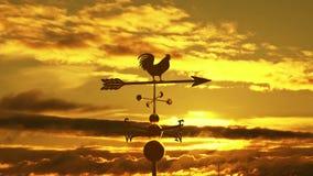 De zonsondergang van de Weathervanejonge haan stock video