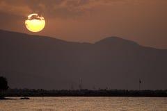 De Zonsondergang van Zakynthos Stock Afbeelding