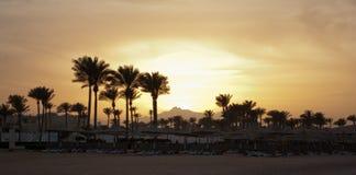 De zonsondergang van de zomer Gouden zonsondergangavond in berg en overzees strand met palmparaplu's Oranje zonsondergang op berg royalty-vrije stock foto