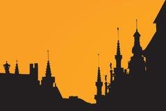 De zonsondergang vectorbeeld van Brussel Stock Afbeelding