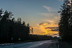 De zonsondergang vooruit Stock Afbeelding
