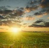 De zonsonderganglandschap van de zomer stock foto