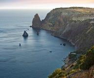 De zonsonderganglandschap van de Zwarte Zee Stock Foto