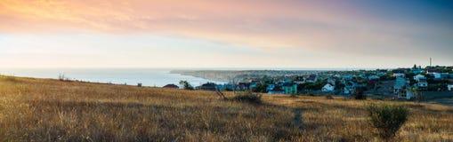 De zonsonderganglandschap van de Zwarte Zee Royalty-vrije Stock Afbeeldingen