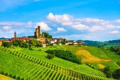 De zonsondergangpanorama van Langhewijngaarden, Alba Serralunga, Piemonte, Ita stock afbeelding