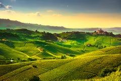 De zonsondergangpanorama van Langhewijngaarden, Castiglione Falletto, Piemonte stock afbeelding