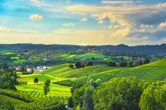 De zonsondergangpanorama van Langhewijngaarden, Roddi-dorp, Piemonte, Italië royalty-vrije stock afbeelding