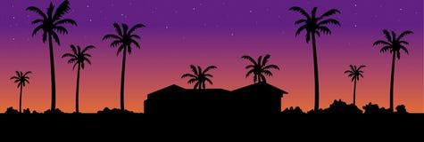 De zonsondergangsilhouet van de villa Stock Afbeelding