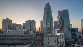 De Zonsondergangtime lapse 4K van Japan - van Tokyo - Shinjuku- stock videobeelden