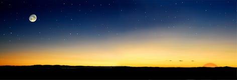 De zonsondergangzon van de schemer Stock Afbeeldingen