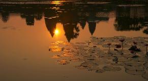 De zonsopgang in angkor wat, Kambodja Royalty-vrije Stock Afbeelding