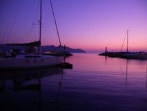 De zonsopgang Cala Bona van de haven Stock Afbeelding