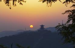 De zonsopgang China van Yanan stock fotografie