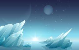De zonsopgang op een ander vreemd planeetlandschap met ijsrotsen, planeten, speelt bij hemel mee Panorama van de melkweg het ruim royalty-vrije illustratie