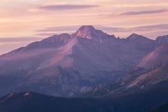 De zonsopgang snakt Piek, Rocky Mountain Natinal Park, Colorado stock fotografie