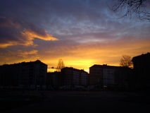 De zonsopgang van Belgrado Stock Foto's