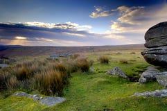 De zonsopgang van Dartmoor stock afbeelding