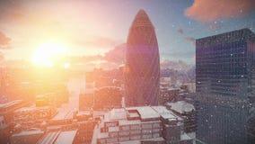 De zonsopgang van de de tijdtijdspanne van Londen, het sneeuwen