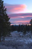 De zonsopgang van de de winterberg Stock Foto's