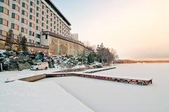 De Zonsopgang van de winter bij Meer Akan, Hokkaido, Japan royalty-vrije stock afbeelding